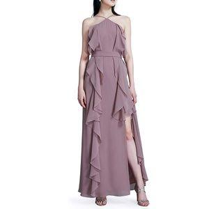 Dresses & Skirts - ✨Stardust Mauve Ruffle Slit Halter Sexy Maxi Dress